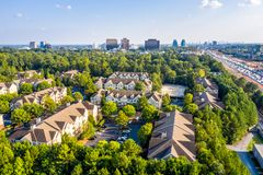 Free Aerial View Condos In Atlanta Suburbs Just Next To Highway GA 400 Stock Images - 158371004