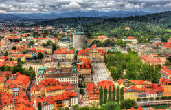 Aerial view of Congress square in Ljubljana, Slovenia Royalty Free Stock Photos