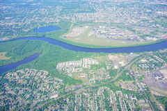 Aerial view of Connecticut river. Landscape at hartford, CT Royalty Free Stock Photo
