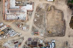 Aerial view:Construction building royalty free stock photo