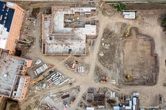 Aerial view:Construction building royalty free stock photography