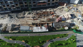 Aerial view of Construction crane of construction site stock footage