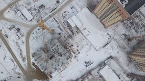 Aerial view of construction and development site. Aerial view of a construction site. Top view stock footage