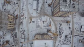 Aerial view of construction and development site. Aerial view of a construction site. Top view stock video