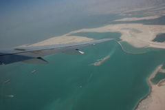 Aerial view of construction of island in dubai Stock Images