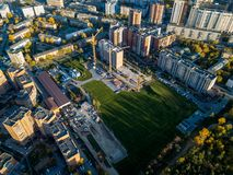 Aerial view of the construction site of a building royalty free stock photos