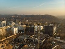 Aerial view of construction site in the city of Vilnius, Lithuania. Construction of new apartment building in progress royalty free stock photography