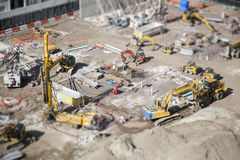 Aerial View of Construction Site with Extreme Bokeh. Royalty Free Stock Image