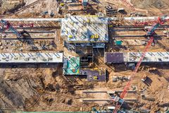 Aerial view of construction site in progress royalty free stock photos