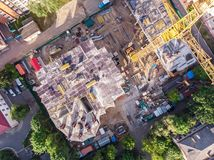 Aerial view of construction site in progress royalty free stock photo