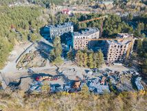 Aerial view of the construction of three elite residential build royalty free stock photos