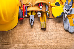 Aerial view construction tools  in toolbelt hammer Stock Image