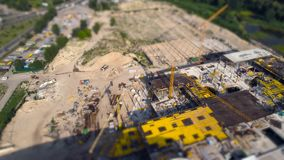 Aerial view of construction works tilt shift. Miniature stock footage