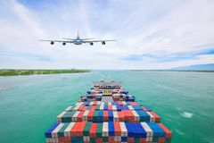 Aerial view container cargo ship and commercial plane for transport and logistic import export concept royalty free stock photography