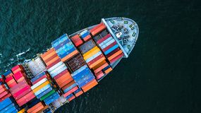 Aerial view Container Cargo ship import and export business, Top