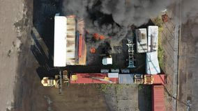 Aerial View of Container Fire Philadelphia Marine Terminal.  stock footage