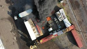 Aerial View of Container Fire Philadelphia Marine Terminal.  stock video footage