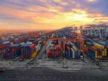 Aerial top view container in port warehouse waiting for export . Stock Images