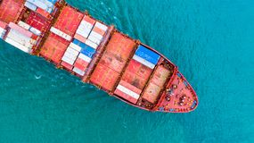 Aerial view container ship, Carrying container for import export business logistic and transportation of International by freight royalty free stock photos