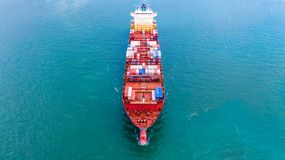 Aerial view container ship, Carrying container for import export business logistic and transportation of International by freight royalty free stock photography