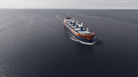 Aerial view of container ship sailing in the sea royalty free stock photos