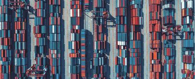 Aerial view of containers Royalty Free Stock Images