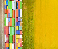 Aerial view of containers. Stock Photos
