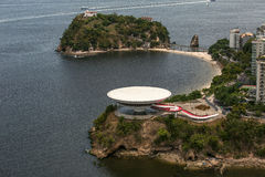 Aerial View of Contemporary Art Museum in Niteroi Royalty Free Stock Photo