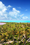 Aerial view Contoy tropical caribbean island Stock Photo