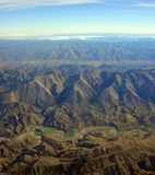 Aerial View of Conway River & Kaikoura Mountains New Zealand stock photos