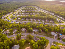 Aerial view of a Cookie Cutter Neighborhood Royalty Free Stock Images