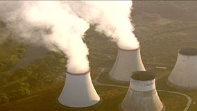Aerial view of water cooling towers stock footage