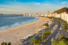 Aerial view of the Copacabana beach royalty free stock photography