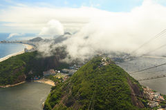 Aerial view copacabana, botafogo, red beach from Sugarloaf, Rio Royalty Free Stock Photo
