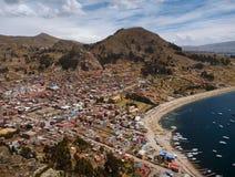 Aerial view of copacabana at lago titicaca stock images