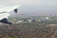 Aerial view of Copenhagen outskirts, after takeoff Royalty Free Stock Photo