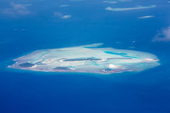Aerial view - coral atolls, Maldives Royalty Free Stock Photos