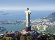 Aerial View of Corcovado Mountain and Christ the Redemeer in Rio Royalty Free Stock Images