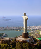 Aerial View of Corcovado Mountain and Christ the Redemeer in Rio. Christ the Redeemer with Rio De Janeiro's and the Atlantic in the background Stock Photo