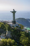 Aerial View of Corcovado Mountain and Christ the Redemeer in Rio. Christ the Redeemer with Rio De Janeiro's and the Atlantic in the background Royalty Free Stock Images