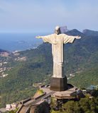 Aerial View of Corcovado Mountain and Christ the Redemeer in Rio. Christ the Redeemer with Rio De Janeiro's mountains in the background Royalty Free Stock Photography