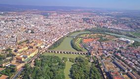 Aerial view of Cordoba cityscape and the Guadalquivir river, Spain. Aerial view of Cordoba cityscape royalty free stock photos
