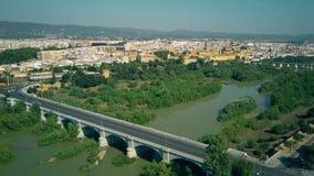 Aerial view of Cordoba and the Guadalquivir river, Spain. Aerial shot of Cordoba cityscape stock photo