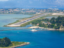 Aerial view of Corfu airport Royalty Free Stock Images