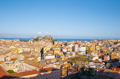 Aerial view of Corfu city as seen from the New Fortress on Corfu island, Greece. Royalty Free Stock Photography