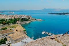 Aerial view of Corfu city marina Royalty Free Stock Photos