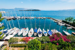 Aerial view of Corfu city marina from the Old Fortress Royalty Free Stock Photo