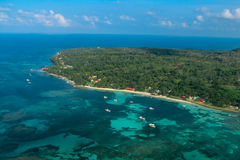 Aerial view of Corn Island from Nicaragua royalty free stock photography