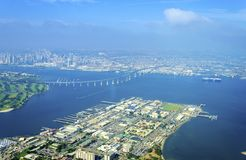 Aerial view of Coronado Island, San Diego. Aerial view of the Coronado island and bridge in the San Diego Bay in Southern California, United States of America. A stock images