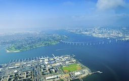 Aerial view of Coronado Island, San Diego. Aerial view of the Coronado island and bridge in the San Diego Bay in Southern California, United States of America. A stock photos